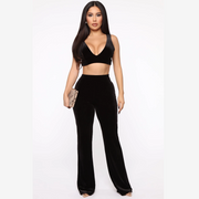 Velvet Plunge High Waist Wide Leg Cropped Top & Pant Set