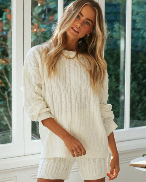 Cable Knit Drop Shoulder Sweater & Shorts Set