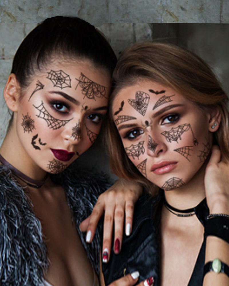 Spider Web Pattern Face Tattoo Sticker