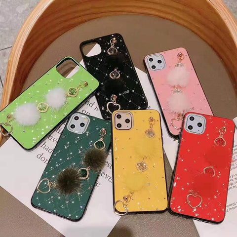 PU Leather Rhinestone Deco Phone Case for Samsung with Wrist Strap gallery 6