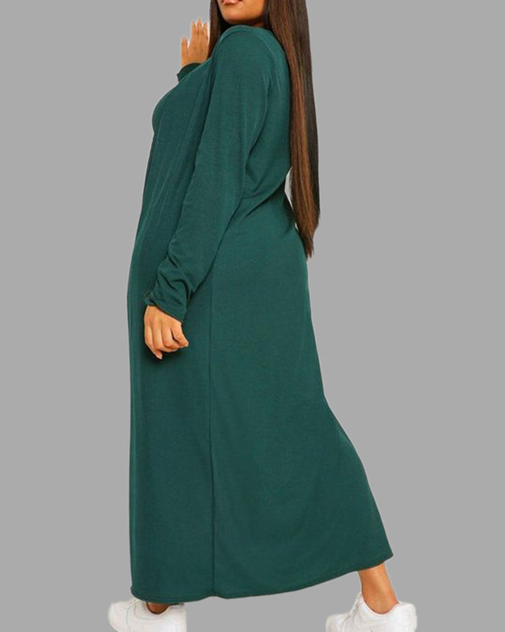 Solid Square Neck Dress & Cardigan Set gallery 10