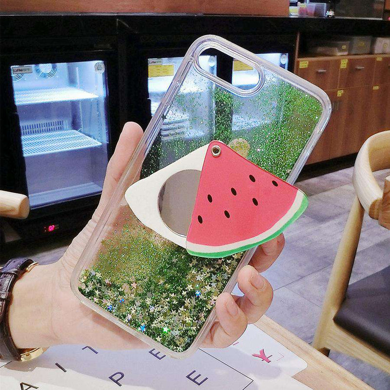Transparent Glitter Liquid with Mirror Phone Case For All iPhone