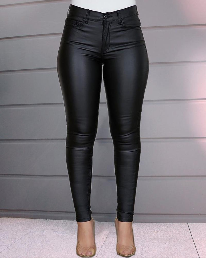 Solid Low Waist PU Leather Skinny Pants gallery 2