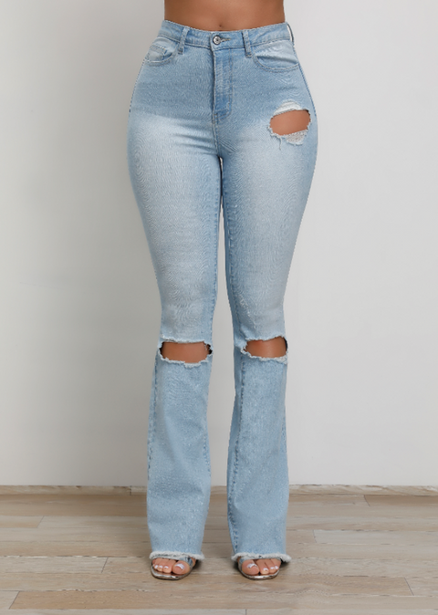 Vintage High Waist Stretch Ripped Flare Jeans gallery 2