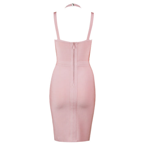Peach Pink Strappy Halter Bandage Dress gallery 3
