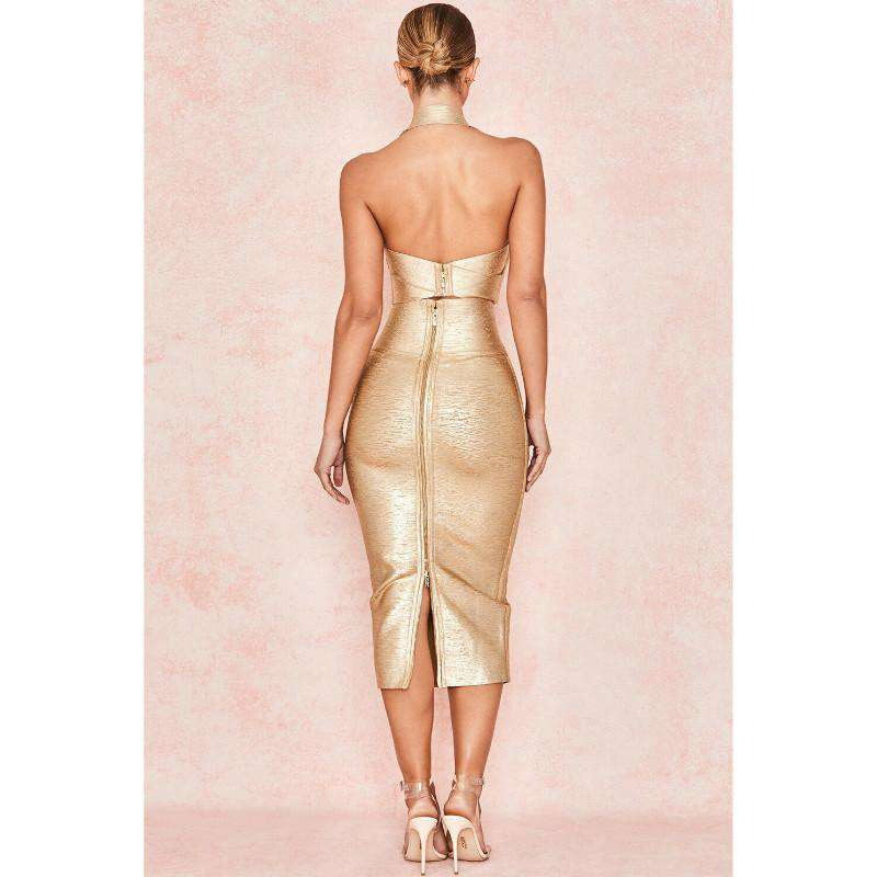 Fashion Sexy Party Two-Piece Bandage Suit Dress With Neck Zipper Top And Open Half
