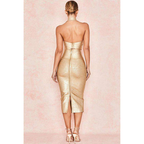 Bandage Halterneck Slinky Midi Dress Suit gallery 2