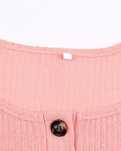 Button Front Rib-Knit Crop Sweater & Pants Set gallery 7