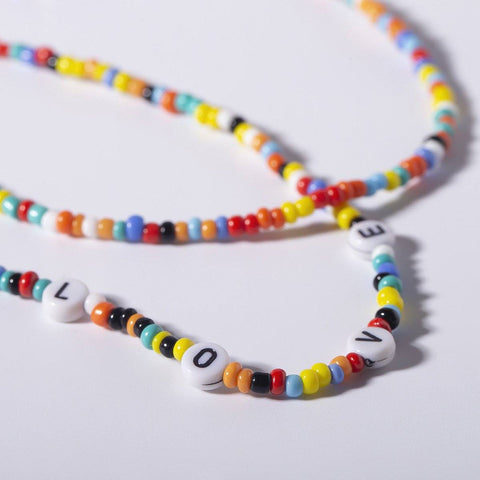 Colorful Bead Strand Double Layering Necklace