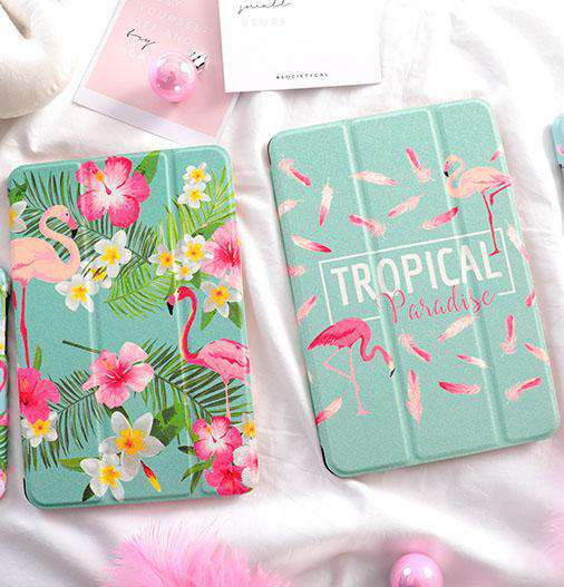 Tropical Flamingo & Flower Print iPad Cover Case