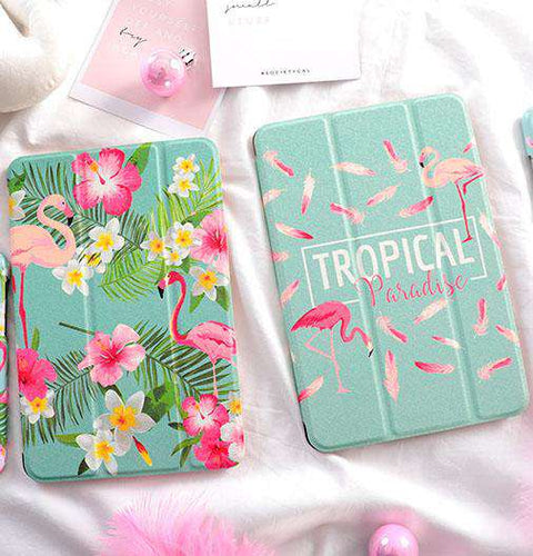 Tropical Flamingo & Flower Print iPad Cover Case gallery 1