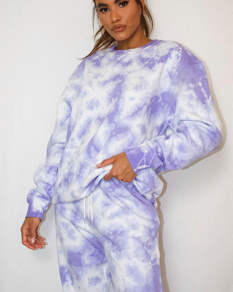 Tie Dye Crew Neck Long Sleeve Drawstring Top & Pant Set