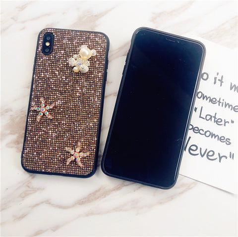 Bear & Starfish Pearl Deco Full Glittering Phone Case for Samsung gallery 3