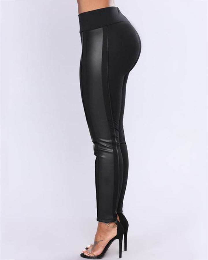 Mid Waist PU Leather Patched Skinny Pants gallery 3