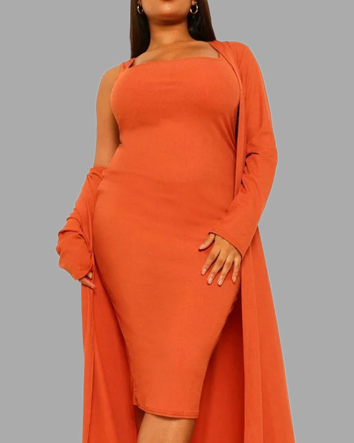 Solid Square Neck Dress & Cardigan Set gallery 4