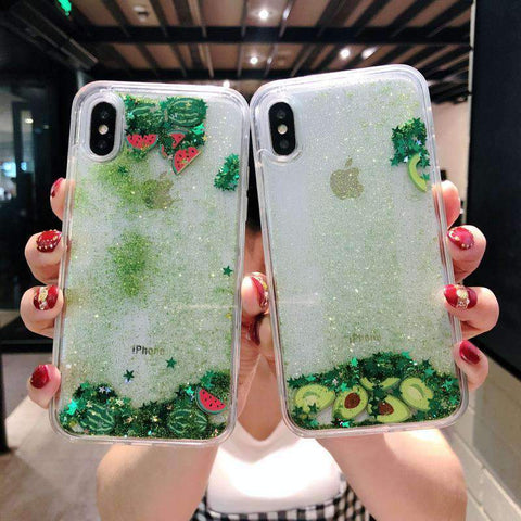 Chic Fruit Foil Elements Glitter Phone Case For All iPhone