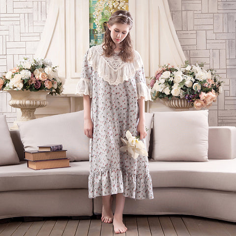 Sweet Floral Lace Palace Syle Sleep Dress Nightwear Nightgowns