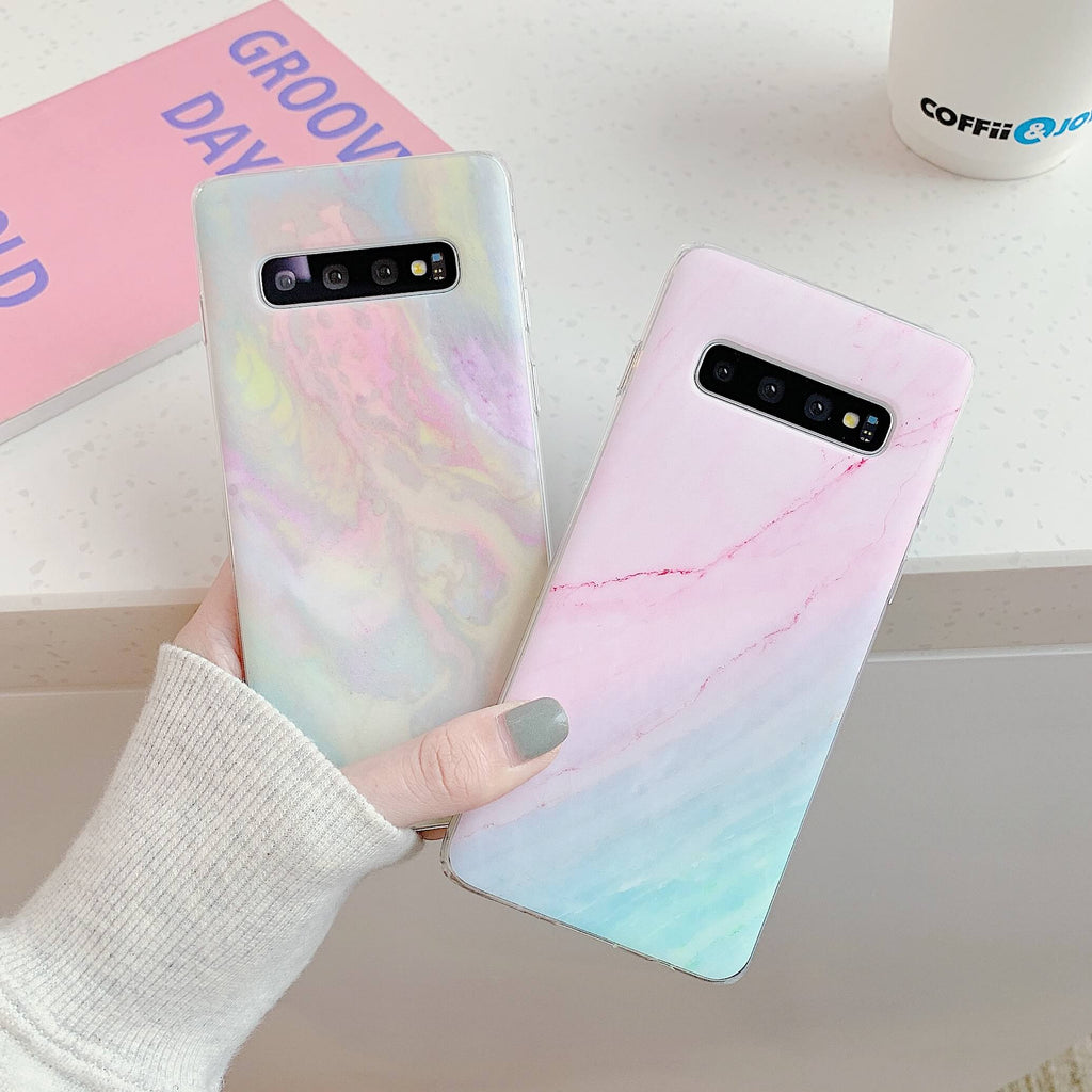 Gradient Frosted Motif Marble Phone Case for Samsung