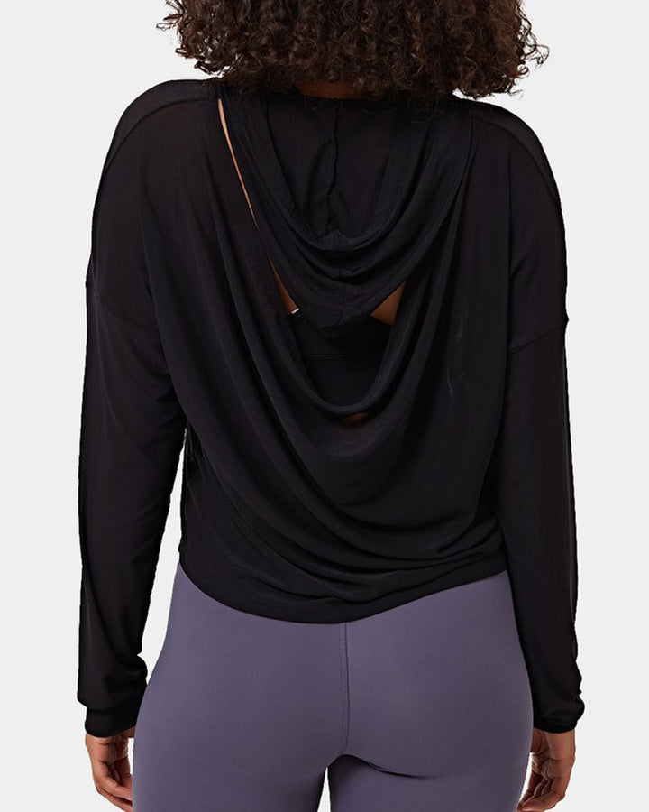 Mesh Sheer Hollow Out Sports Hoodie gallery 2