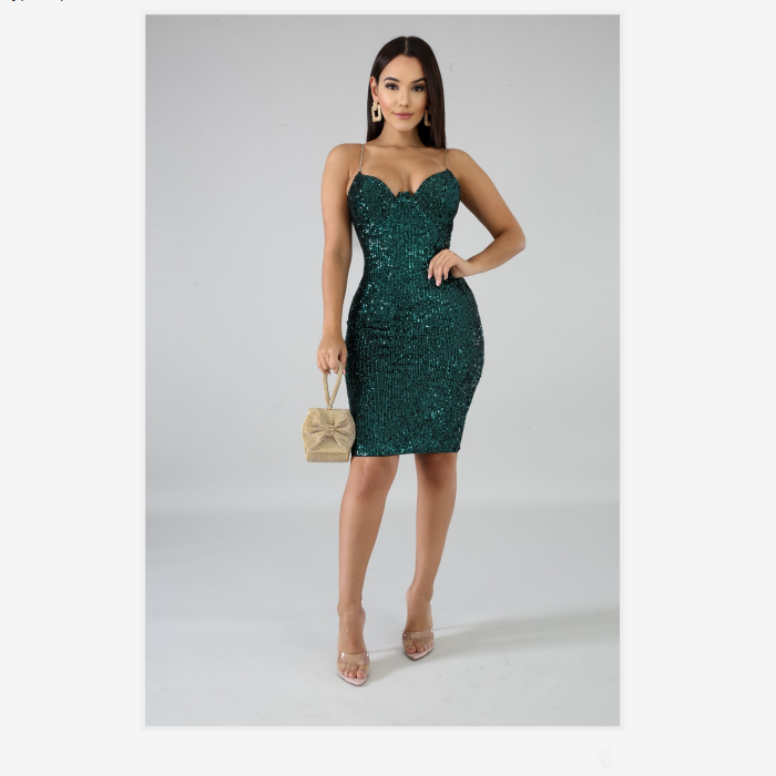 2 Colors Plunge Sequins Detail Cup Detail Strappy Dress