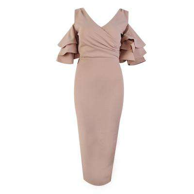 Lotus Sleeve V-Neck Long Dress With Shoulder-Exposed Vest