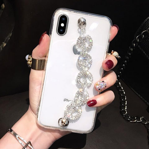 Rhinestone Clear Transparent Phone Case for Samsung with Hand Strap gallery 5