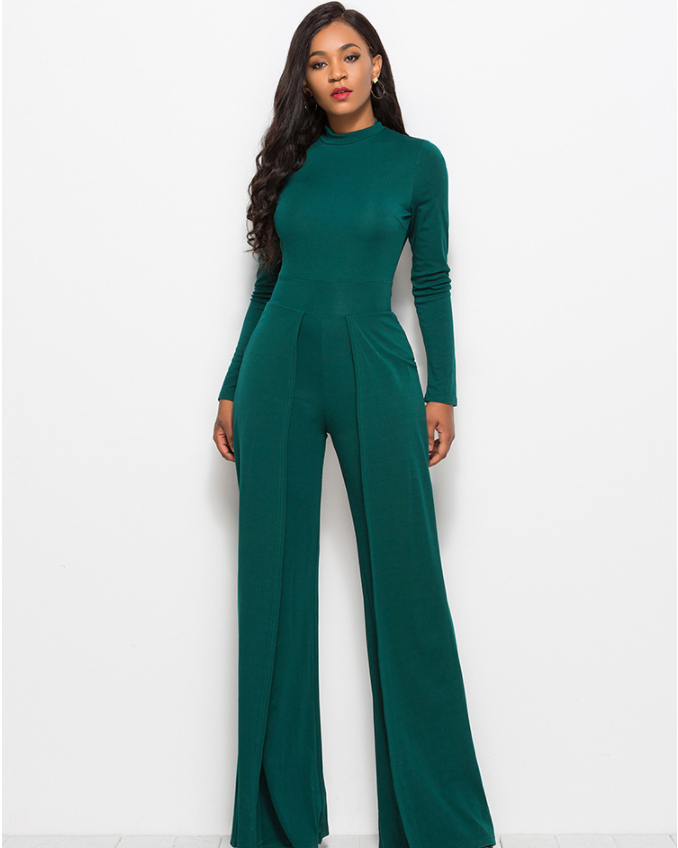 Soild High Neck Tiered Jumpsuit