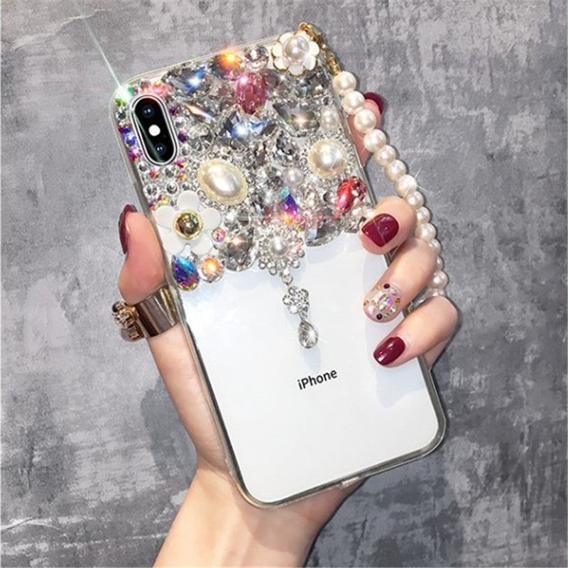 Half Transparent Rhinestone Phone Case for Samsung with Hand Strap
