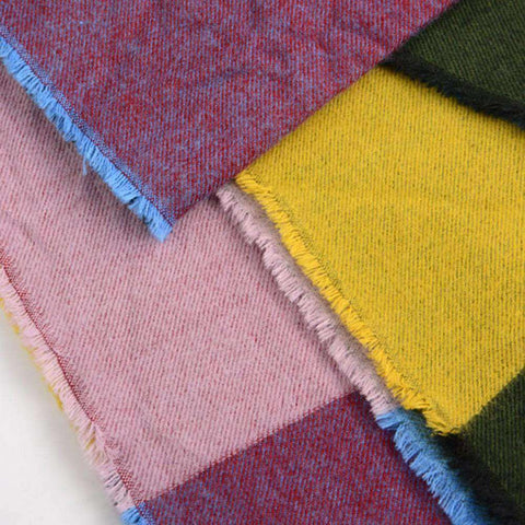 Multicolored Oversized Patchwork Scarf With Frayed Edges, Multifuntional Fashionable Winter Check Muffle gallery 4