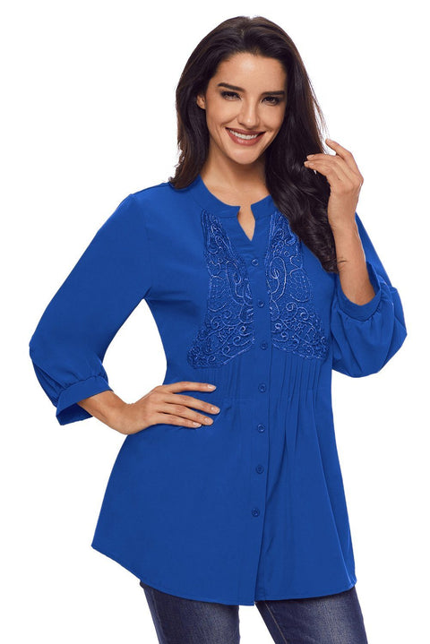 Blue Lace and Pleated Detail Button up Blouse gallery 3
