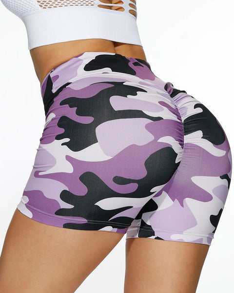 Camo Print Ruched Wide Band Waist Sports Shorts