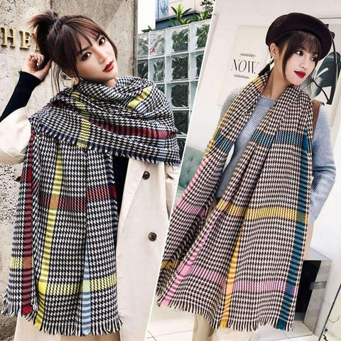 Classic Long Check Scarf With Frayed Edges For Men And Women, Unisex Faux Cashmere Plaid Muffler gallery 1