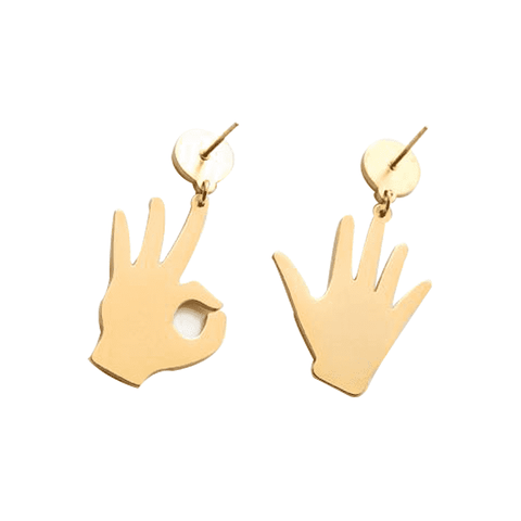 Golden Hand Shaped Earrings