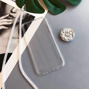 Contracted Transparent iPhone Case with Phone Holder and Hand Strap