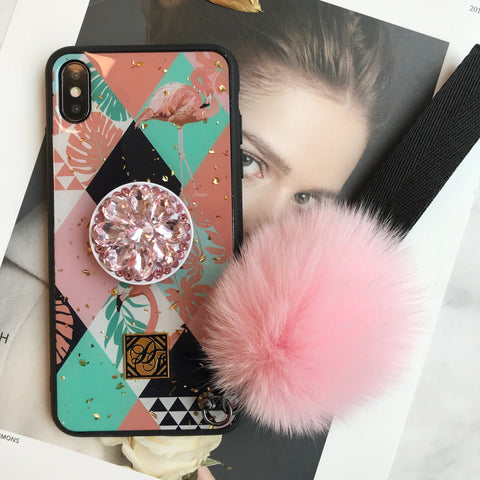 Chic Flamingo Print Soft Phone Case with Furry Fuzzy Plush Ball for All Apple Phone