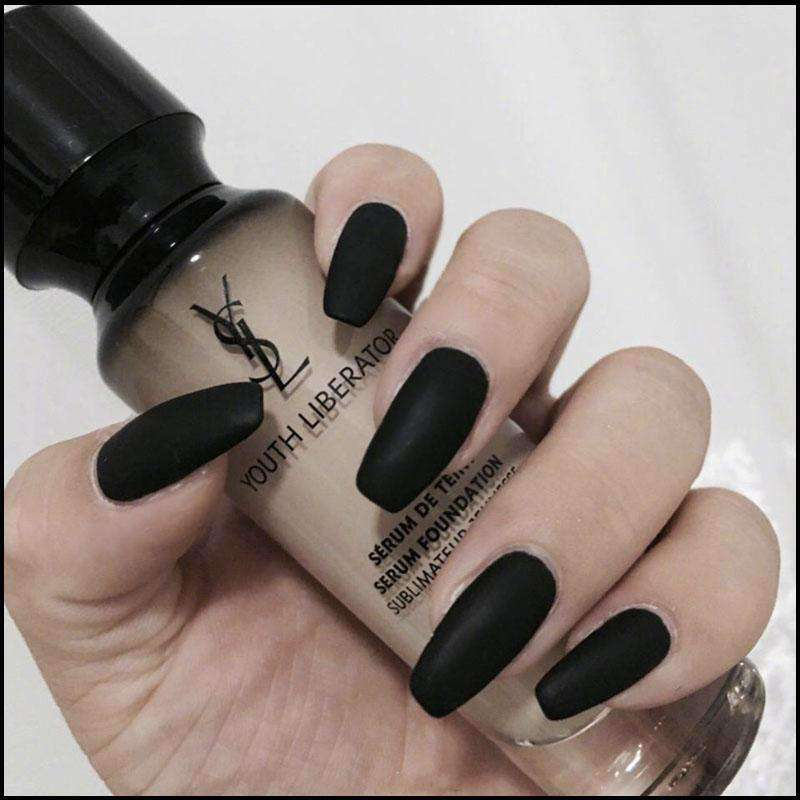Black Matte Marbled Magic Press On Nail Manicure