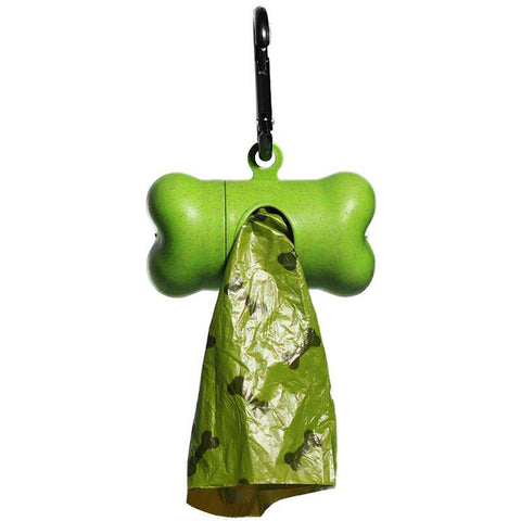 Pet Puppy Use Poop Dispenser Green Bone Shaped With Degradable Bags gallery 1