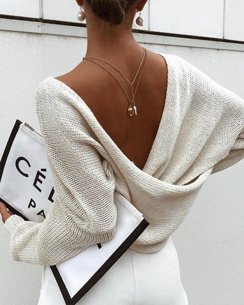 Crossover Drop Shoulder Solid Sweater