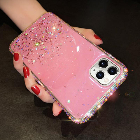 Clear Flowing Glitter Rhinestone Deco Phone Case for Samsung gallery 6