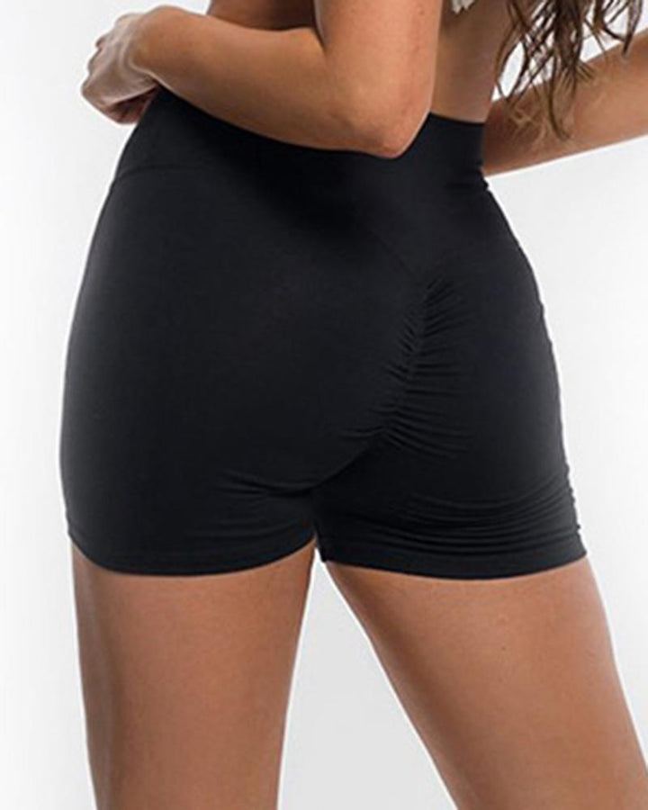 Solid Ruched Butt Lifting High Waist Sports Short gallery 10