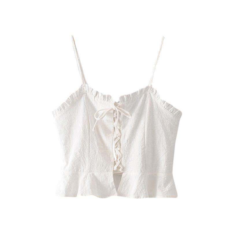 White Crochet Lace Up Cami Top