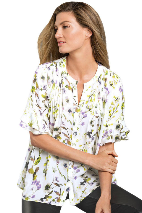 Draped Floral Blouse with Flounced Sleeves gallery 1