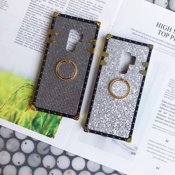 Luxury Blinking Square Phone Case for Samsung with Ring