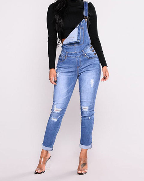 Ripped Pocket Front Roll Up Hem Overall