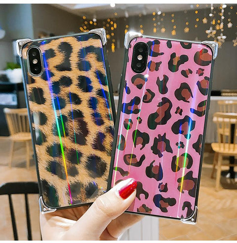 Leopard Print Glittering Phone Case for Samsung
