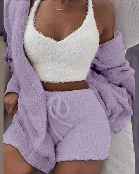 Fluffy Drawstring Waist Sweetheart 3 Piece Shorts Set