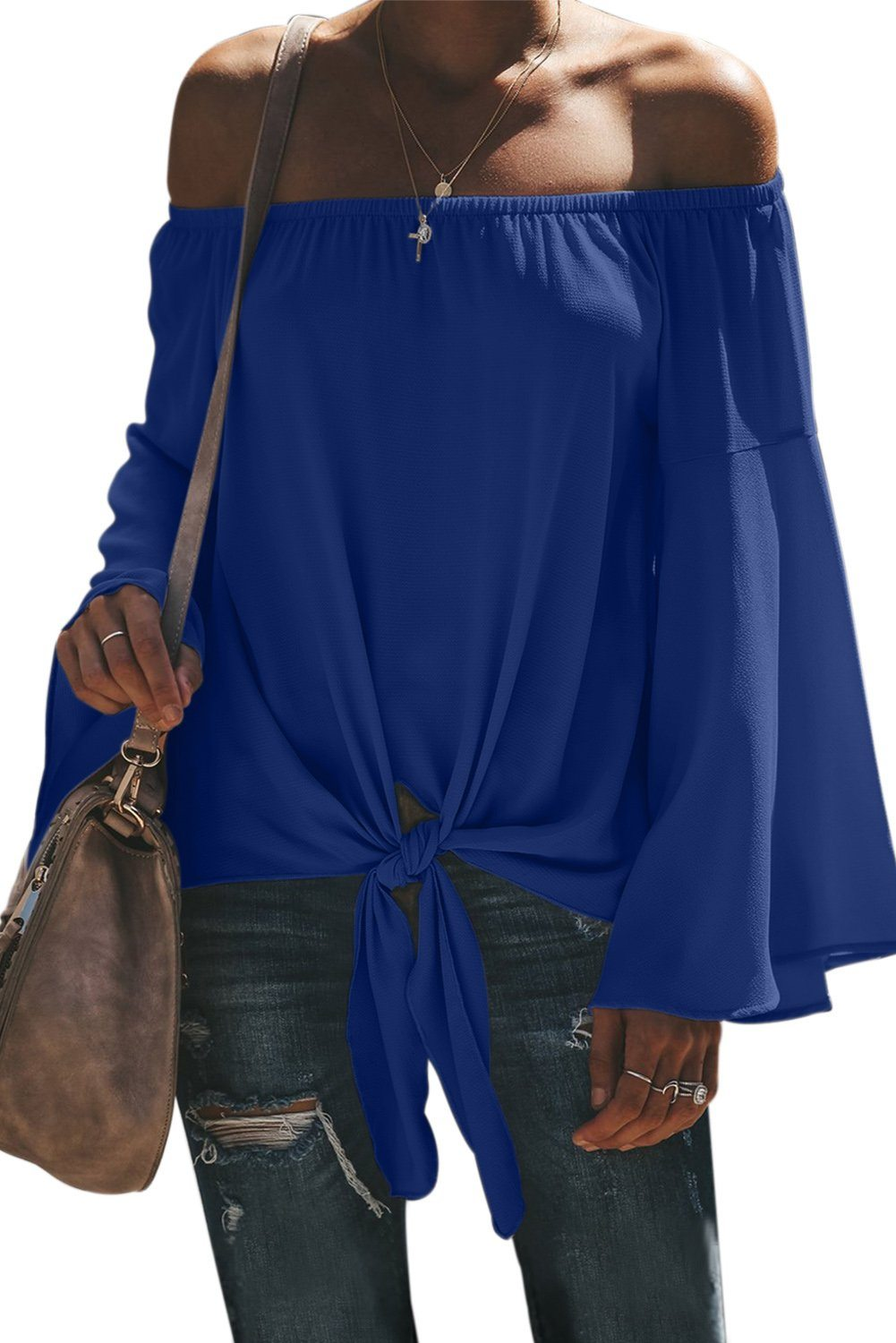 Blue Off The Shoulder Bell Sleeve Tie Blouse