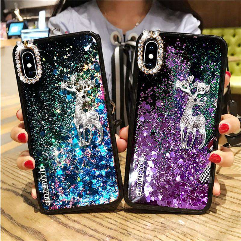 Luxury Liquid Bling Glitter with Silver Deer Designed iPhone Case