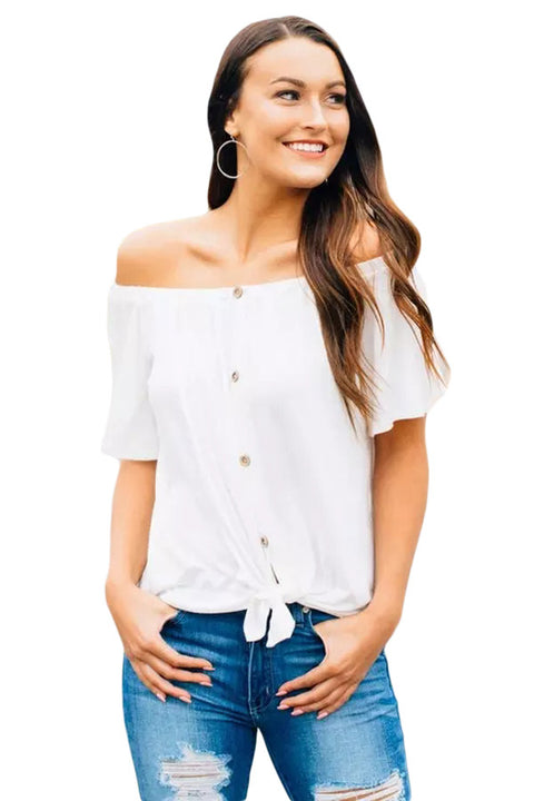 White Off the Shoulder Button Top gallery 1