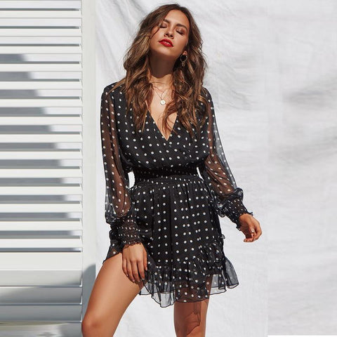 Black V-Neck Wrap Polka Dots Frill Hem Dress